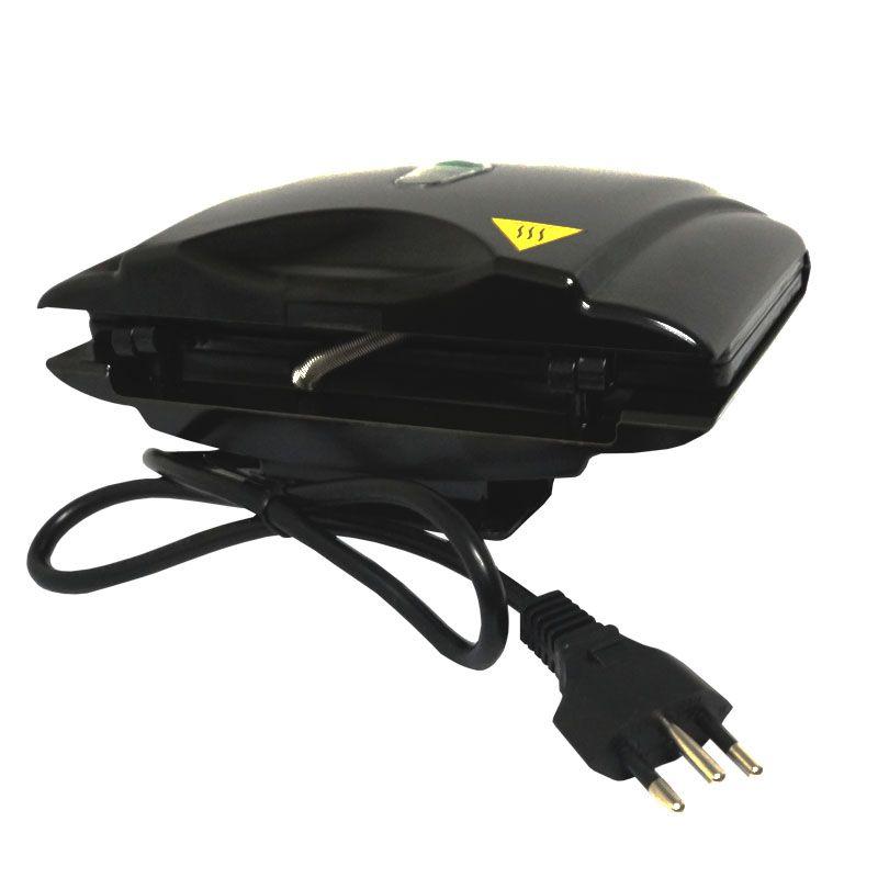 Sanduicheira e Grill Elétrica 220V 750W Dupla Antiaderente Amvox AMS 370-2 Preta