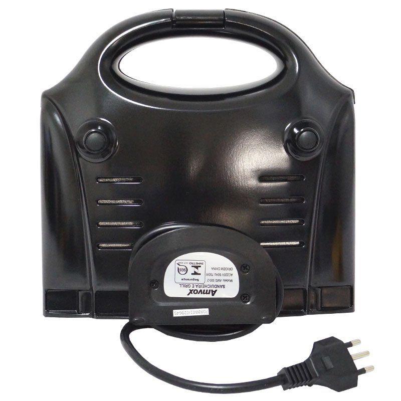 Sanduicheira e Grill Elétrica 220V 750W Dupla Antiaderente Amvox AMS 500-2 Inox