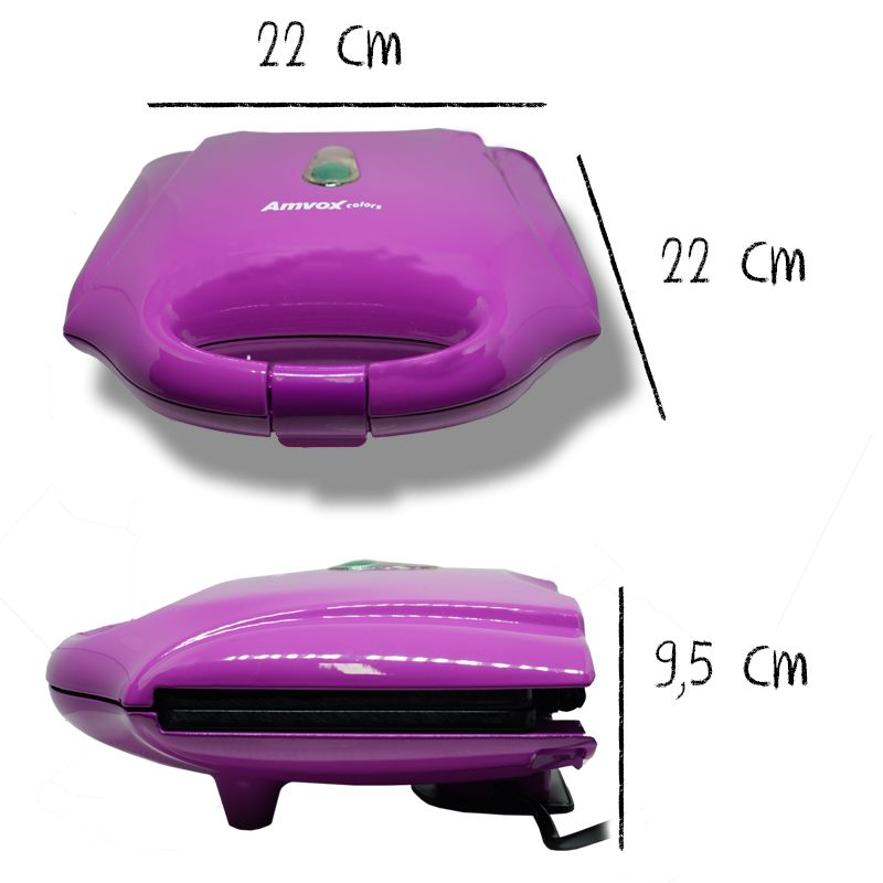 Sanduicheira e Grill Elétrica 750W Dupla Antiaderente Amvox AMS 370 Lilás