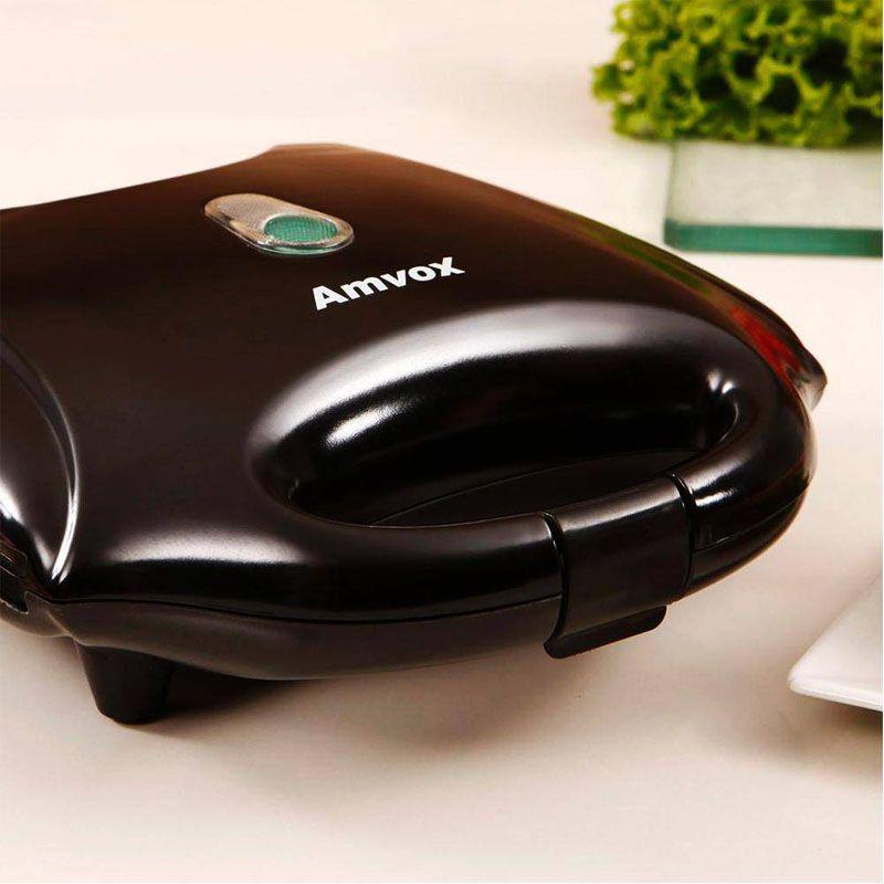 Sanduicheira e Grill Elétrica 750W Dupla Antiaderente Amvox AMS 370 Preta  - BEST SALE SHOP