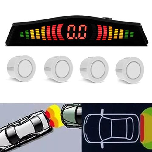 Sensor de Ré Estacionamento Universal 4 Pontos Display Led Cinoy 18mm YN-SR002BR Branco