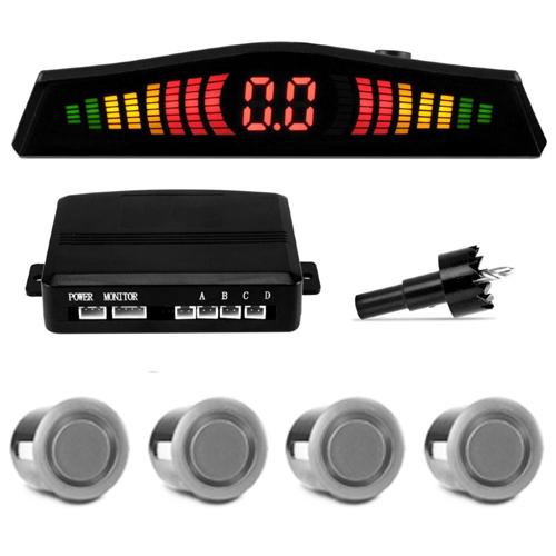 Sensor de Ré Estacionamento Universal 4 Pontos Display Led Cinoy 18mm YN-SR002PA Prata
