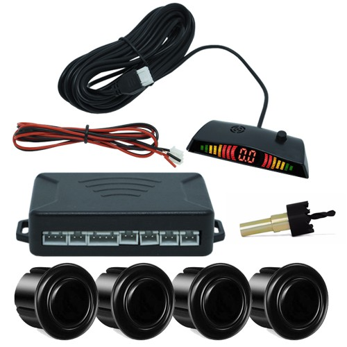 Sensor de Ré Estacionamento 4 Pontos Display Led First Option 18mm Preto Brilhante  - BEST SALE SHOP