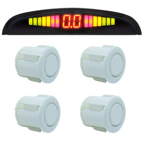 Sensor de Ré Estacionamento 4 Pontos Display Led First Option Kit 18mm Branco  - BEST SALE SHOP