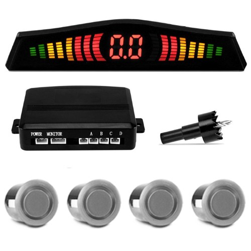 Sensor de Ré Estacionamento Universal 4 Pontos Display Led 18mm Prata  - BEST SALE SHOP