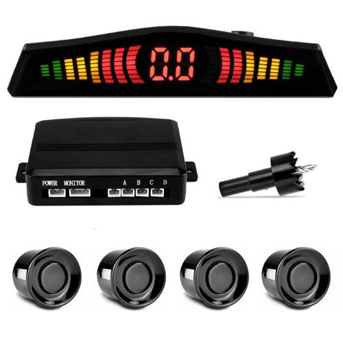 Sensor de Ré Estacionamento Universal 4 Pontos Display Led 18mm Preto Brilhante - BEST SALE SHOP