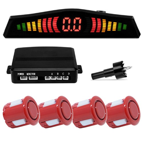 Sensor de Ré Estacionamento Universal 4 Pontos Display Led 18mm Vermelho  - BEST SALE SHOP