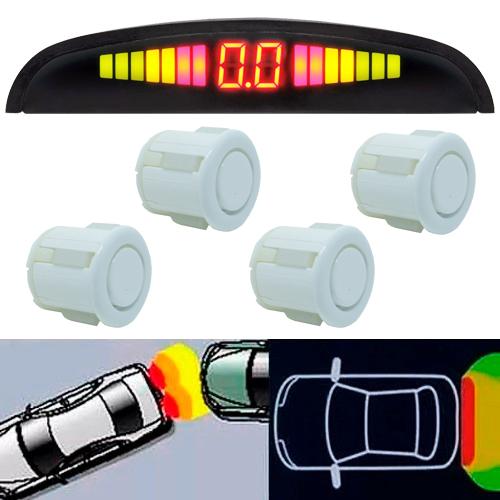 Sensor de Ré Estacionamento Universal 4 Pontos Display Led Branco