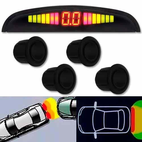 Sensor de Ré Estacionamento Universal 4 Pontos Display Led Preto Brilhante  - BEST SALE SHOP