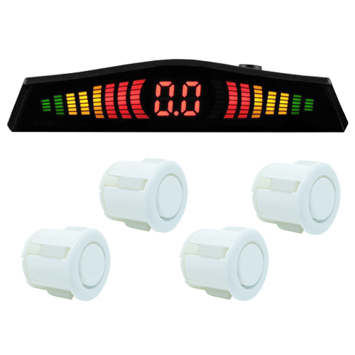 Sensor de Ré Estacionamento Universal 4 Pontos Display Led Tech One 18mm T1SE4PBC Branco  - BEST SALE SHOP