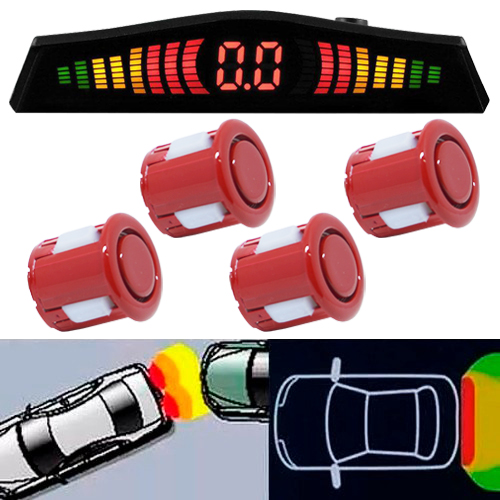 Sensor de Ré Estacionamento Universal 4 Pontos Display Led Tech One 18mm T1SE4PVM Vermelho - BEST SALE SHOP