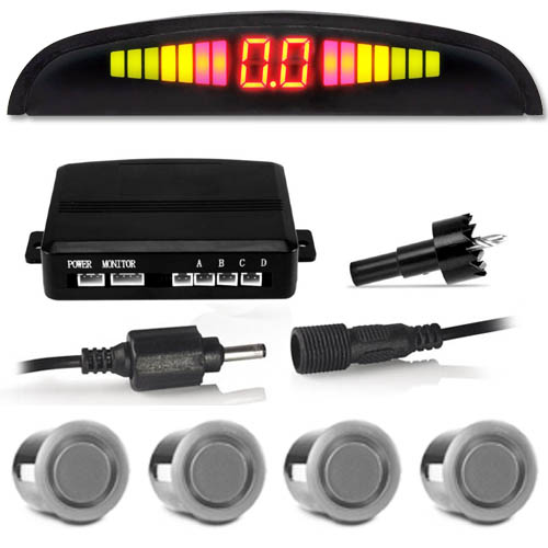 Sensor de Ré Estacionamento Universal 4 Pontos Display Led Tiger Auto 18mm TG-13.1.002 Prata  - BEST SALE SHOP