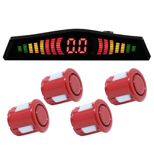 Sensor de Ré Estacionamento Universal 4 Pontos Visor Display Led First Option Kit 18mm Vermelho  - BEST SALE SHOP