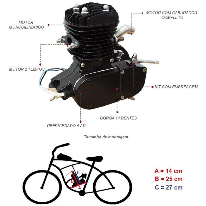 Super Kit Motor Bicicleta Motorizada Gasolina 80CC 2T Completo Preto Importway Barato  - BEST SALE SHOP