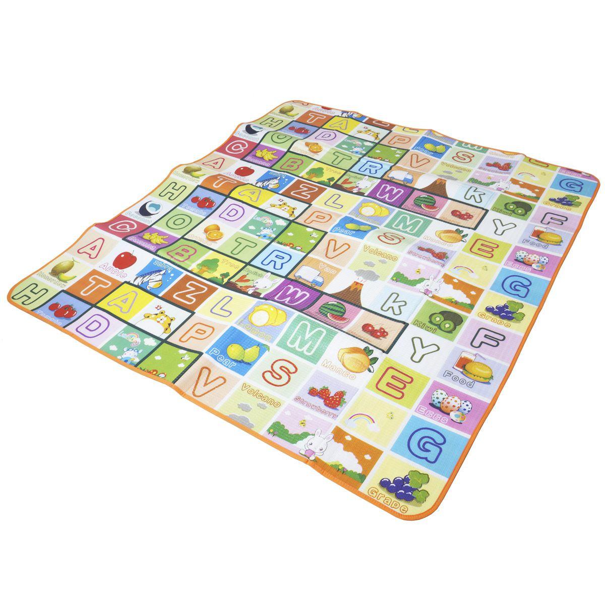 Tapete de Atividade Bebe Infantil Emborrachado 2x1 Recreação 1,80x2,00m Importway BWTI-1820 Colorido