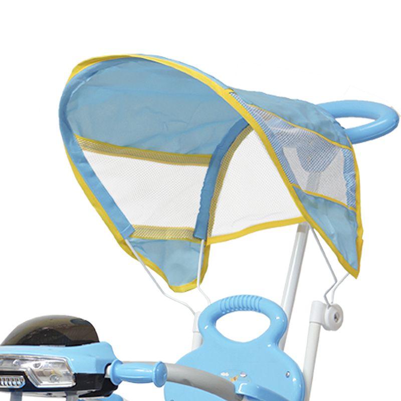 Triciclo Motoca Bicicleta 3 Rodas Infantil Passeio com Empurrador Pedal Luz Som Capota Azul