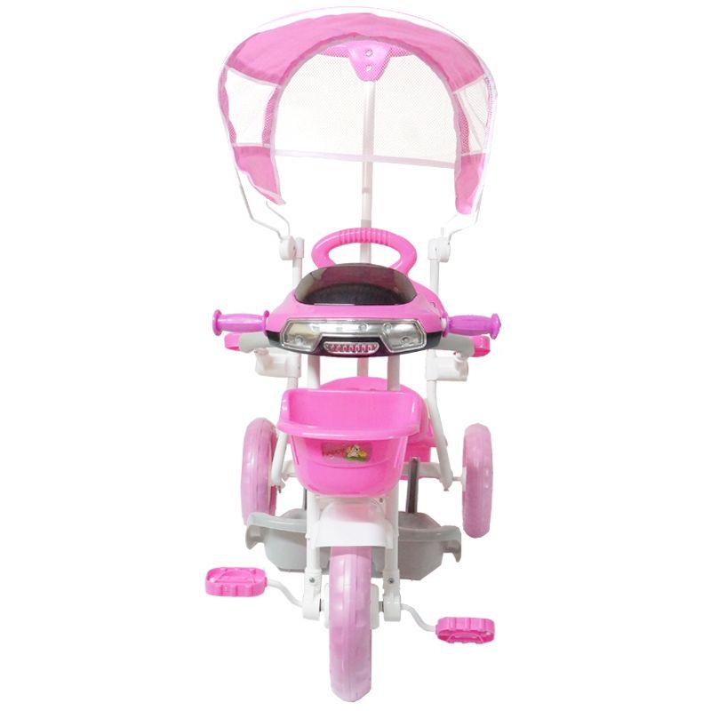 Triciclo Motoca Bicicleta 3 Rodas Infantil Passeio com Empurrador Pedal Luz Som Capota Rosa