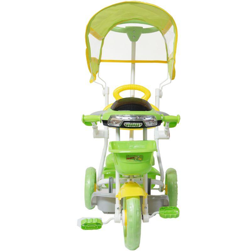 Triciclo Motoca Bicicleta 3 Rodas Infantil Passeio com Empurrador Pedal Luz Som Capota Verde