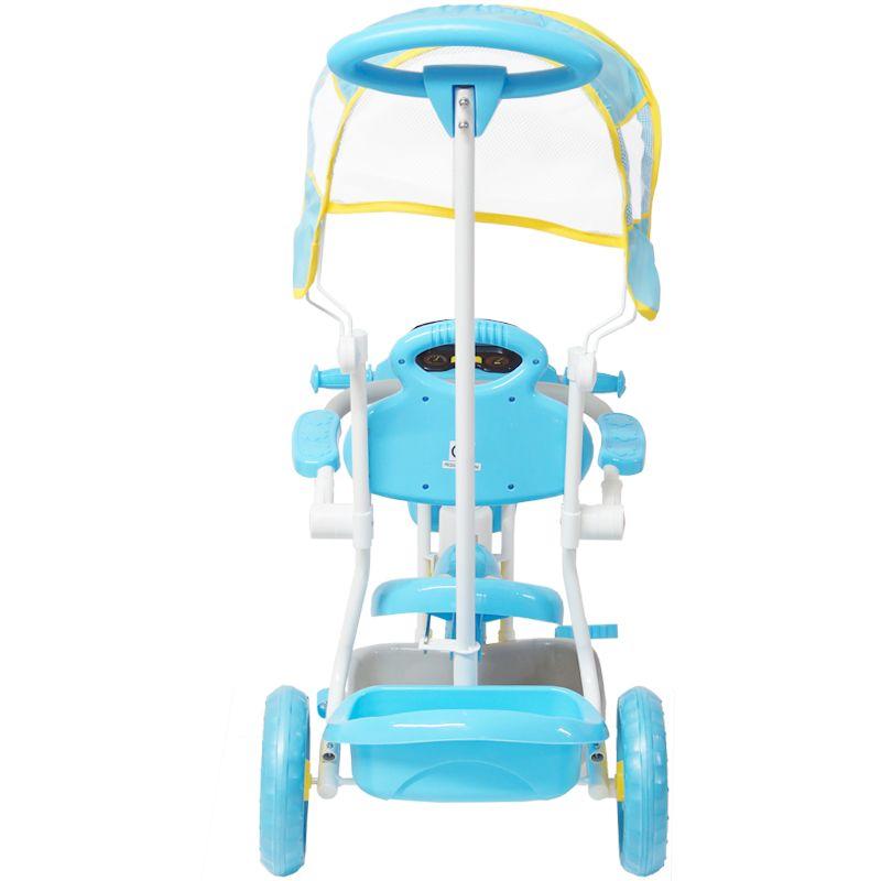 Triciclo Motoca Infantil Passeio com Empurrador Pedal Luz Som Capota Importway BW-003 Azul
