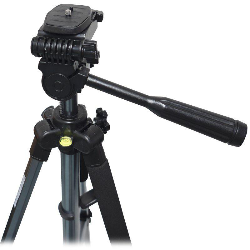 Tripé de Alumínio Câmera Fotográfica Profissional Universal C/ Bolsa 1,5 Metros Flexível Prata Preto