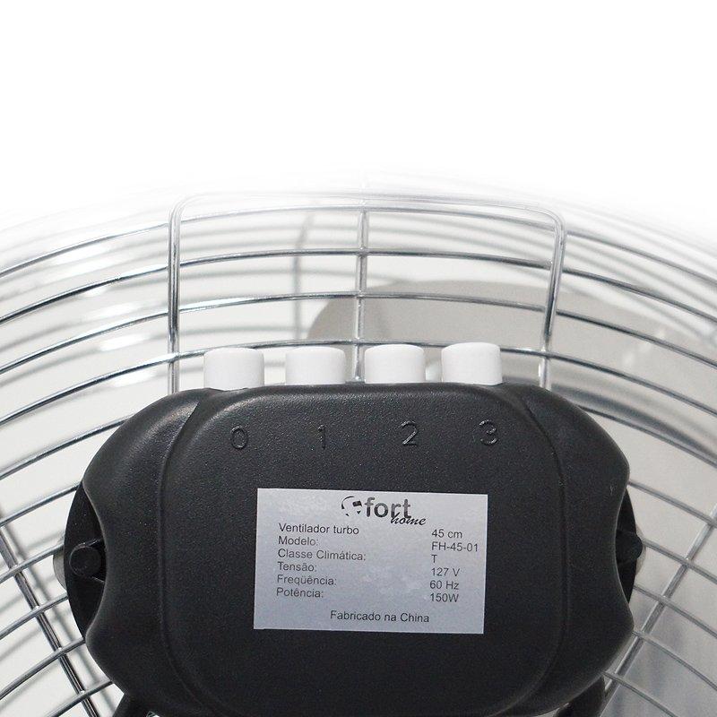 Ventilador de Mesa Turbo 50 Cm Circulador de Ar 150W 3 Velocidades 110V Tufão Fort Home FH-45-01