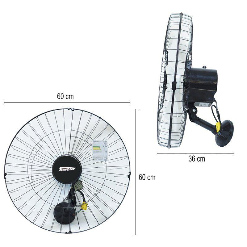 Ventilador Parede 60cm 110V 127V 200W Industrial Turbo Turbão 3 Pás Vitalex OP60AP110 Preto