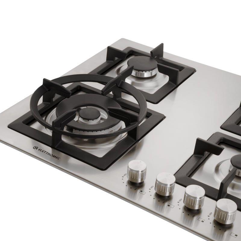 Cooktop a Gás 4 Queimadores Inox 60 cm Quadratto CKG-4Q-60 Elettromec