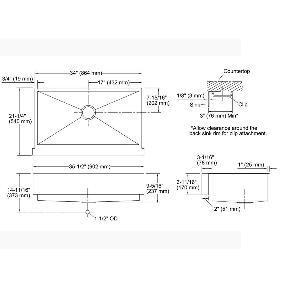 Cuba Simples de Semi Encaixe Vault  3943BR-NA Kohler