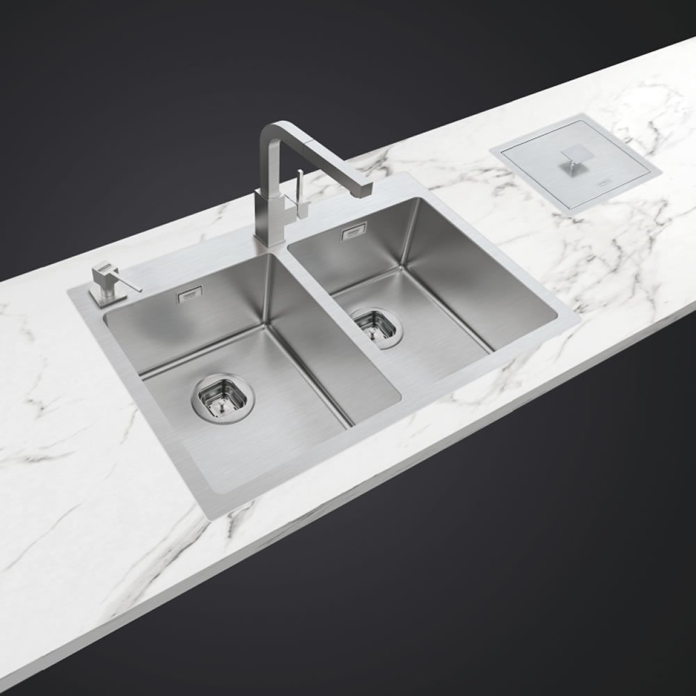 Cuba de Sobrepor 765 x 510 Quadrum Flush 2C 34 Tramontina Design Collection