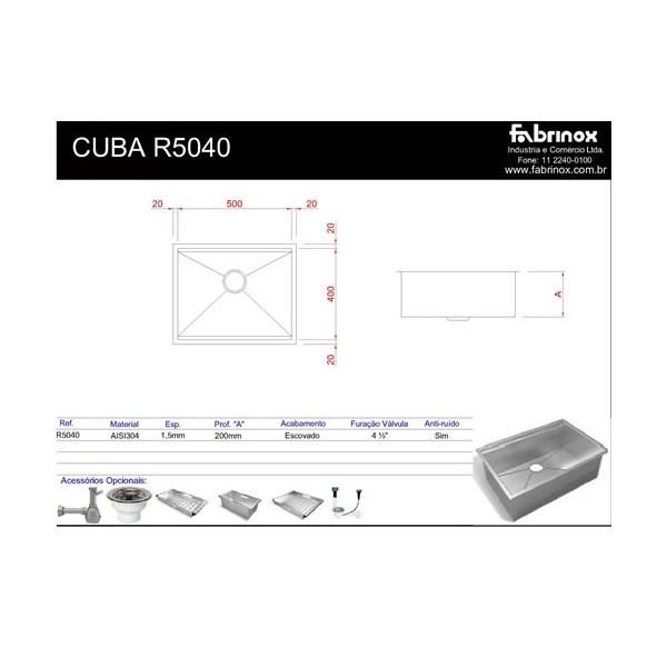 Cuba Simples de Sobrepor ou Embutir Quadrato R5040 Craft