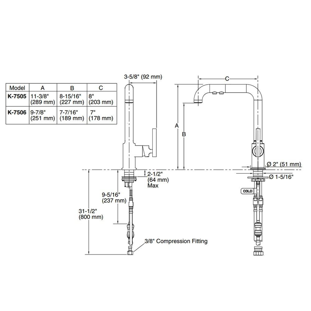 Misturador Monocomando de Bancada Purist 7505BR-B4 Kohler