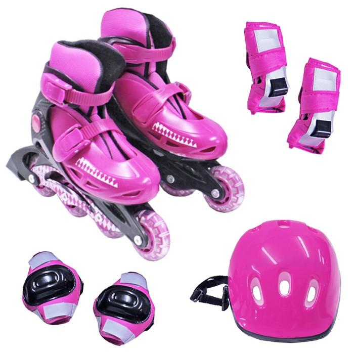 Kit Patins Radical Rollers Ajustavel + Kit Proteção 28 a 39 Azul, Preto ou Rosa - Belfix