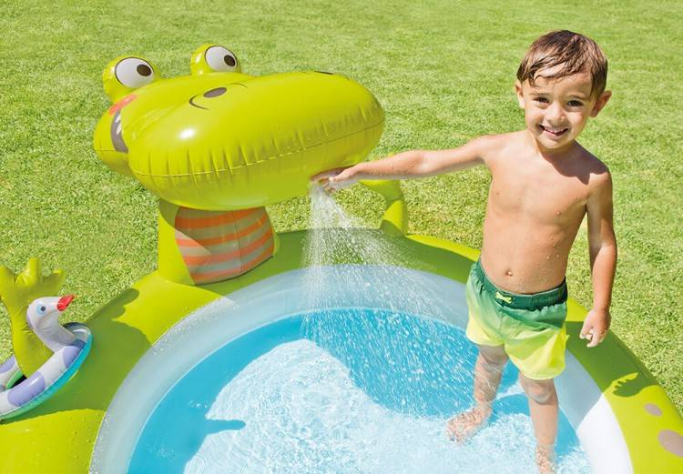 Piscina Inflável Infantil Spray  Jacaré 170 Litros - Intex