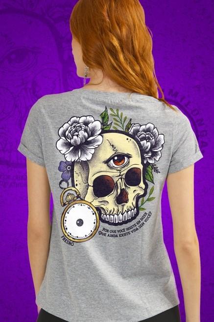 Camiseta Feminina Fresno Milonga Caveira Colors