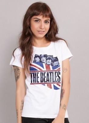 Camiseta Feminina The Beatles England Flag