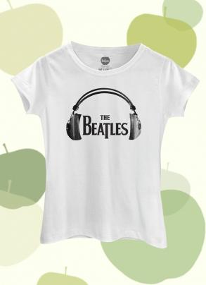 Camiseta Feminina The Beatles Logo Fone