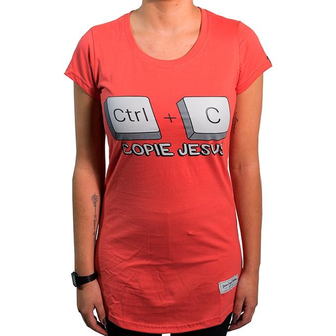 Camiseta  Ctrl+C  Jesus Feminina - #REINODEPONTACABEÇA  - Jesuscopy