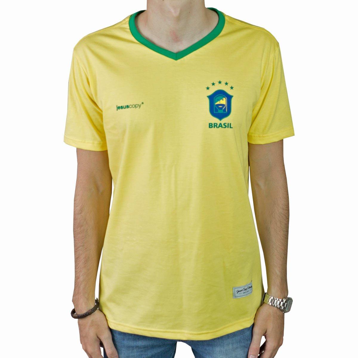 Camiseta Jesuscopy Brasil - Amarela  - Jesuscopy