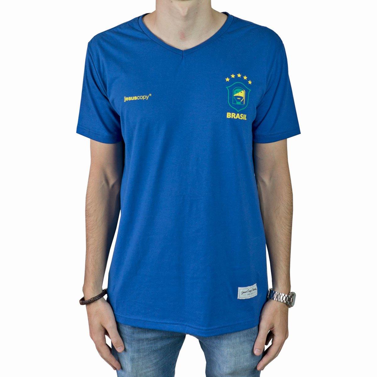 Camiseta Jesuscopy Brasil - Azul  - Jesuscopy
