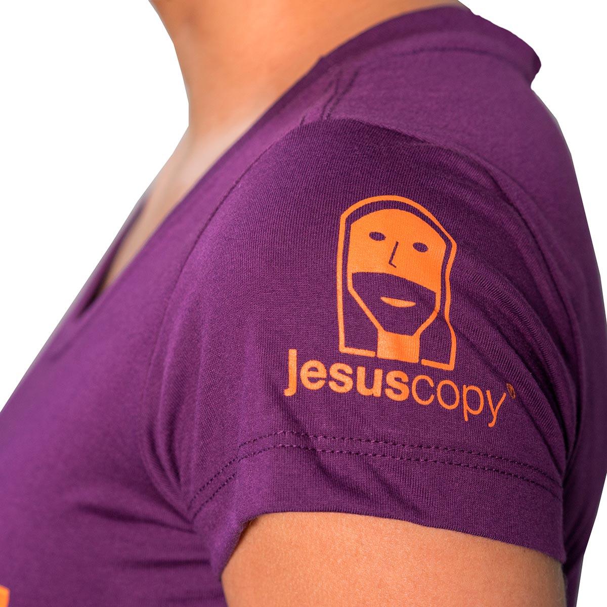 Camiseta  JESUSCOPY Roxa Feminina - #REINODEPONTACABEÇA  - Jesuscopy