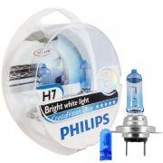 Kit Lampada Philips Crystal Vision H7 55w 12v + Par de Pingos - Efeito Xenon