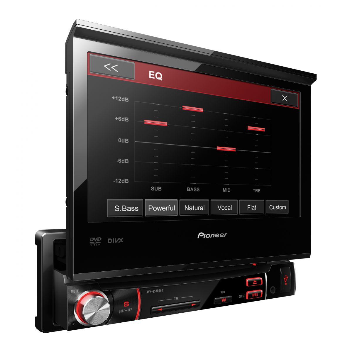 Dvd Player Autmotivo Pioneer AVH-3580DVD Retrátil 7 Polegadas Usb Touch Screen