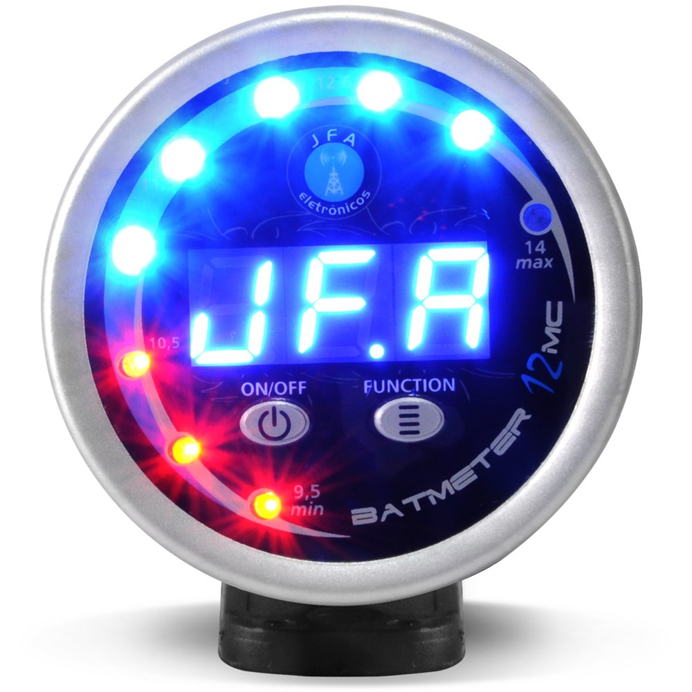 Voltímetro Automotivo Jfa Bat Meter 12V Digital Display Azul