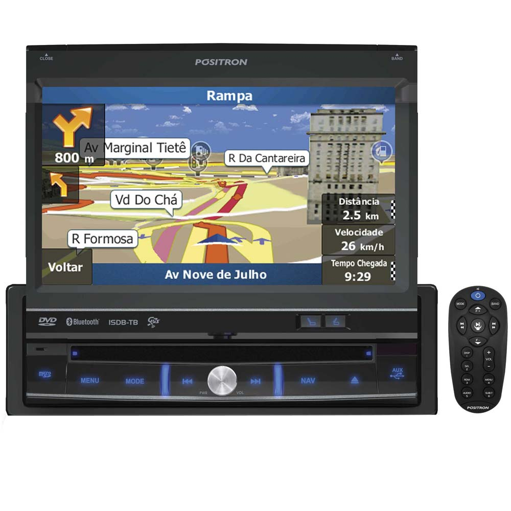 Dvd Player Autmotivo Multimidia Positron SP6900 7 Polegadas Touch Screen GPS TV Digital USB Bluetooth