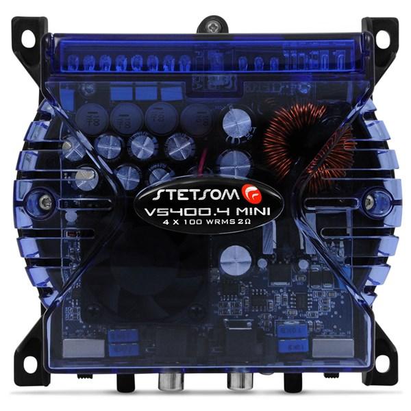 Módulo Amplificador Stetsom VS400.4 Mini 400w 4 Canais 2 Ohms Azul