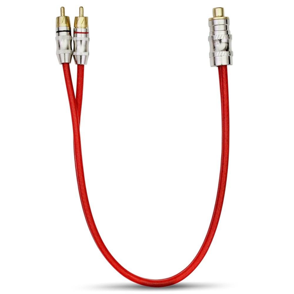 Cabo Y RCA Stetsom 2 Machos 1 Fêmea 5mm Vermelho Plug Banhado a Ouro
