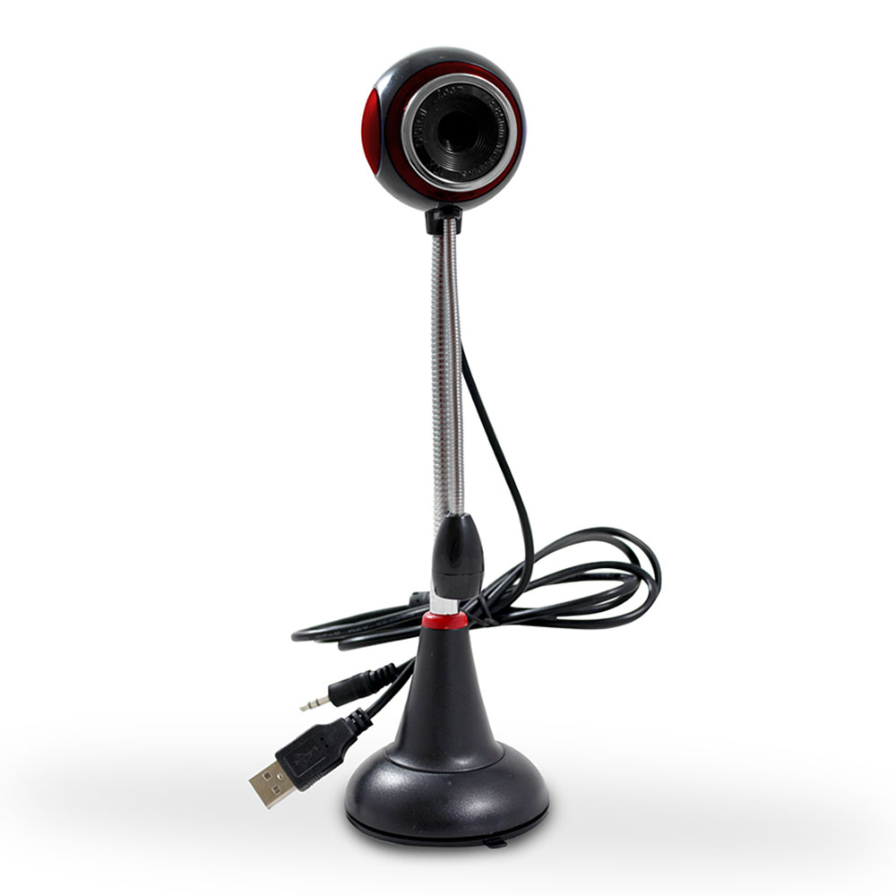 Webcam Hardline com Haste e Microfone - Vermelho