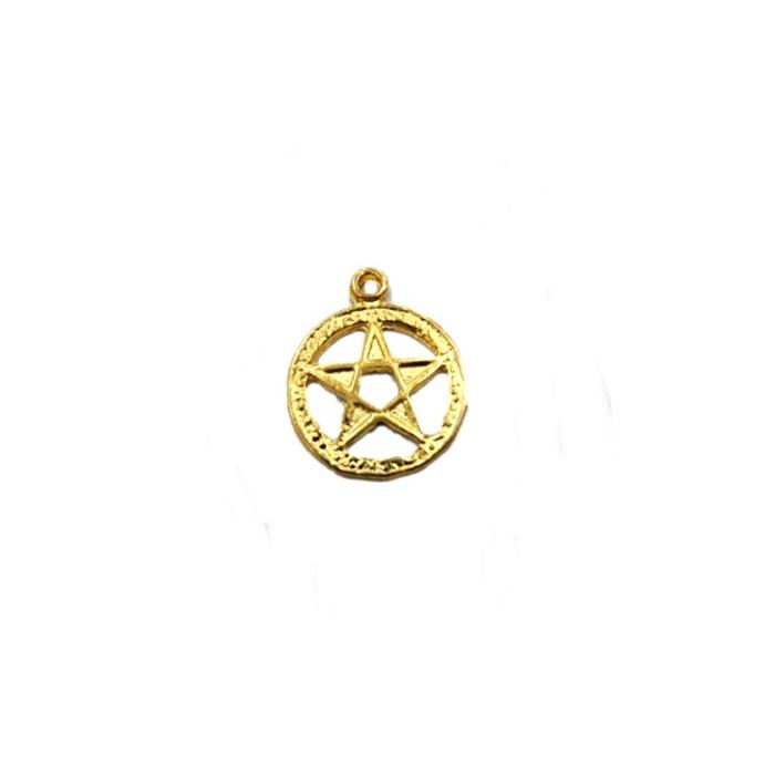 Pingente Estrela de Davi circulo dourada- PTD038