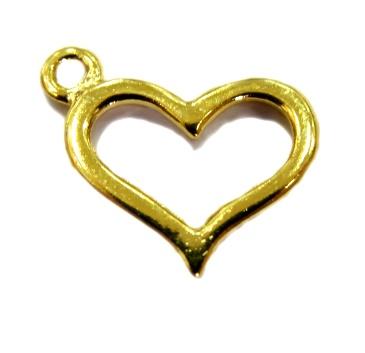 Pingente Coração vazado dourado- PTD046