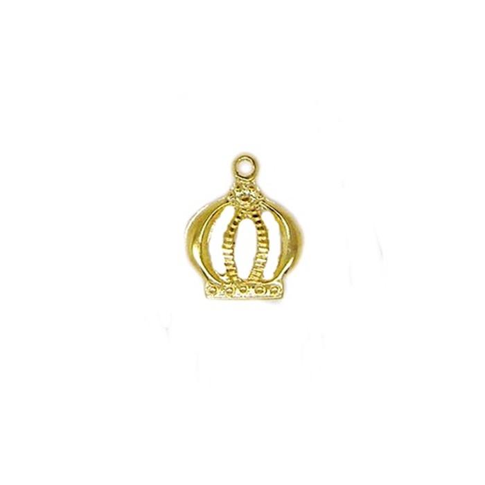 Pingente Coroa P dourada- PTD049